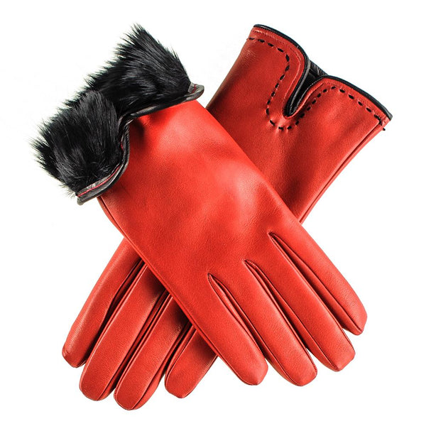Red and Black Rabbit Fur Lined leather Gloves