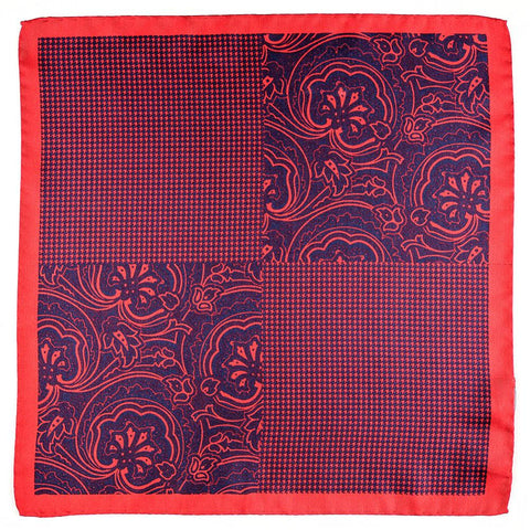 Pilato Red and Navy Italian Silk Pocket Square