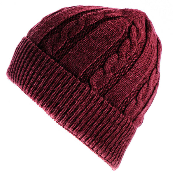 Burgundy Cable Knit Cashmere Beanie
