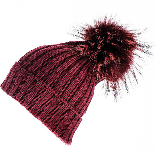 Burgundy Cashmere and Fur Bobble Hat