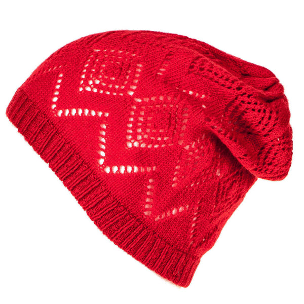 Red Cashmere Pointelle Slouch Beanie