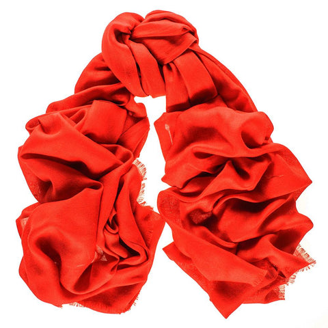 Scarlet Red Cashmere and Silk Wrap