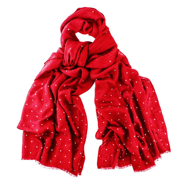 Red Cashmere Shawl With Crystals