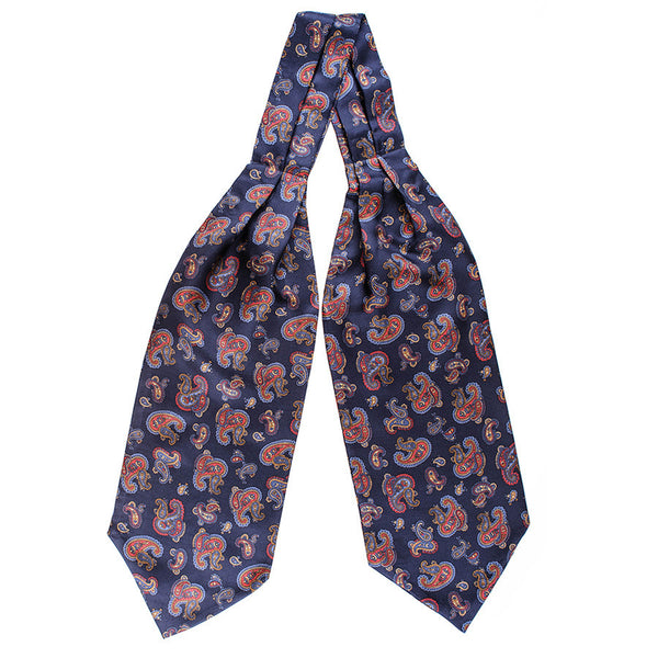 Tellaro Red and Navy Paisley Silk Cravat