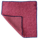 Burgundy and White Reversible Wool Pocket Square