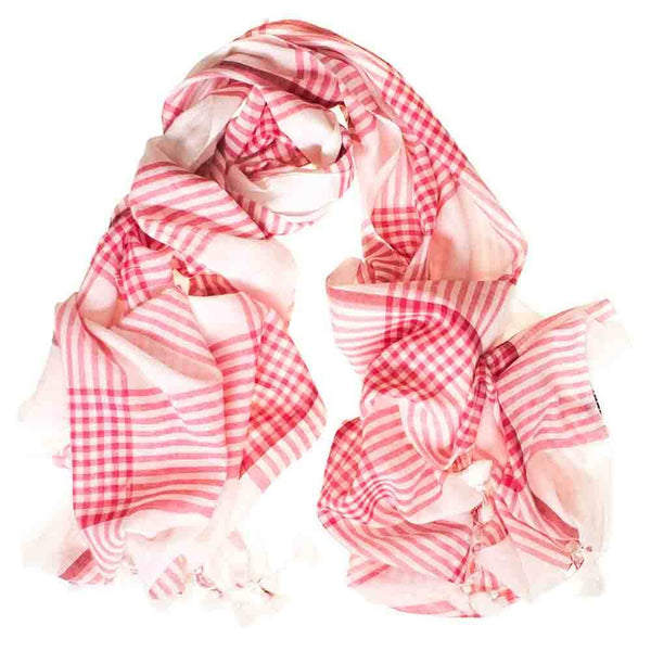 Red and White Check Cotton Scarf