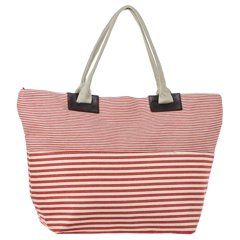 Cherry Red and White Striped Beach Bag