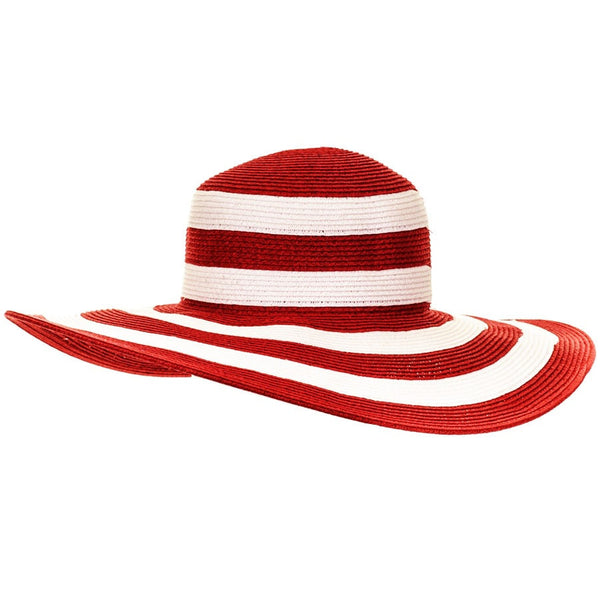 Salsa Red and White Striped Wide Brimmed Sun Hat