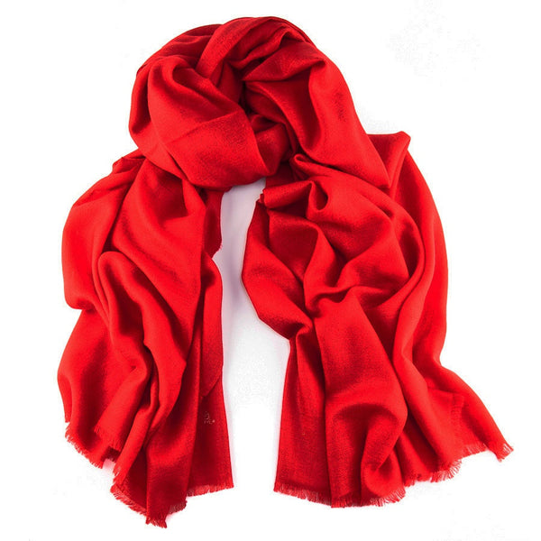 Postbox Red Handwoven Cashmere Shawl