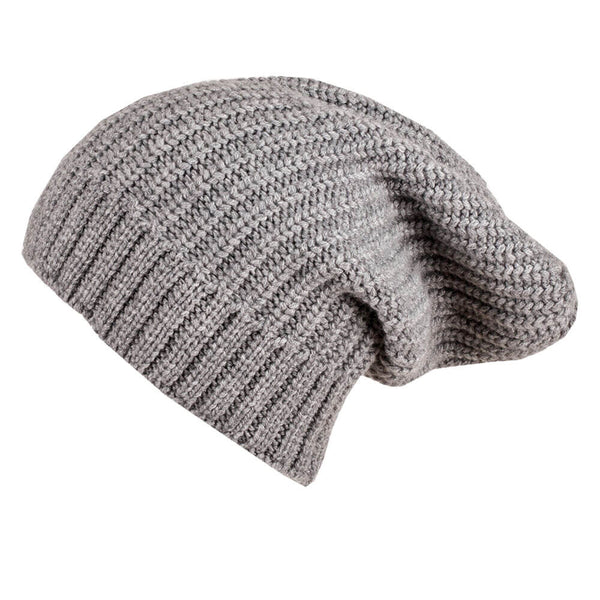 Ribbed Grey Cashmere Slouch Beanie Hat