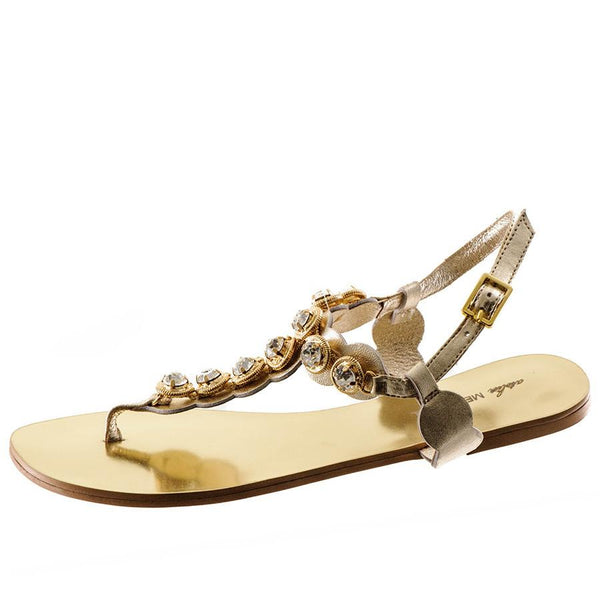 Rose Gold Metallic Leather Sandals