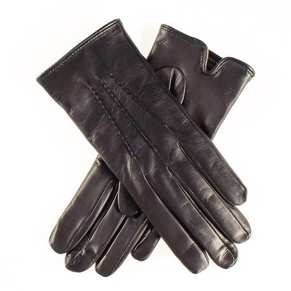 Classic Black Cashmere Lined Leather Gloves