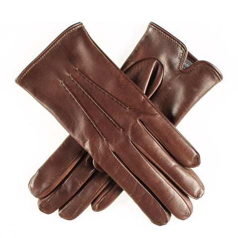 Classic Brown Cashmere Lined Leather Gloves