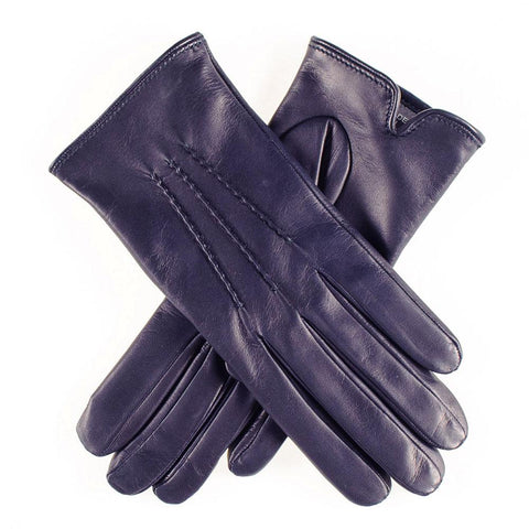 Classic Navy Cashmere Lined Leather Gloves