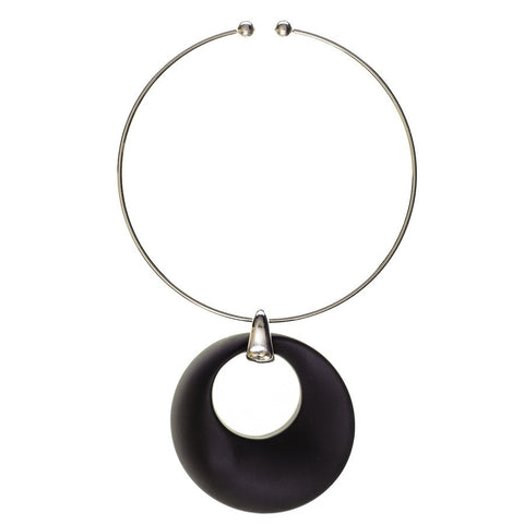 Ella Silver Plated and Black Pendant