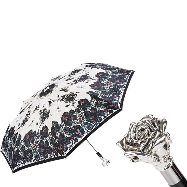 Silver Rose Luxury Folding Umbrella