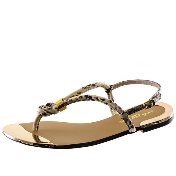 Snake Print T Bar Leather Sandals
