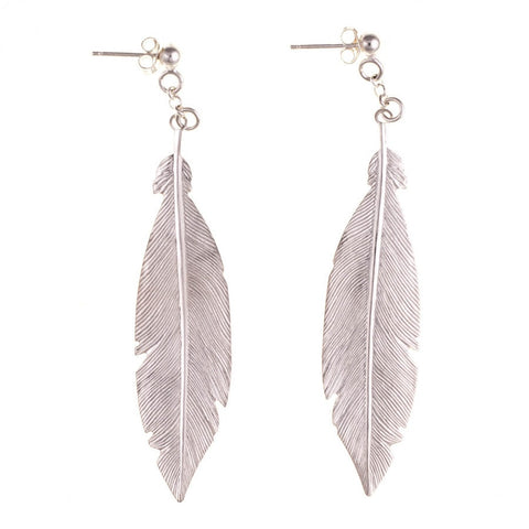 Lara Sterling Silver Feather Earrings