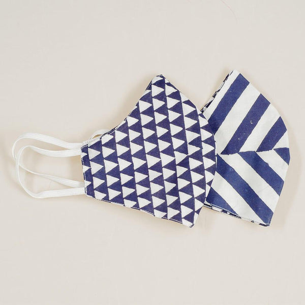 Stripe and Geometric Reversible Organic Cotton Face Mask