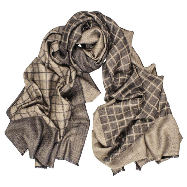 Talbot Reversible Check Wool and Silk Scarf