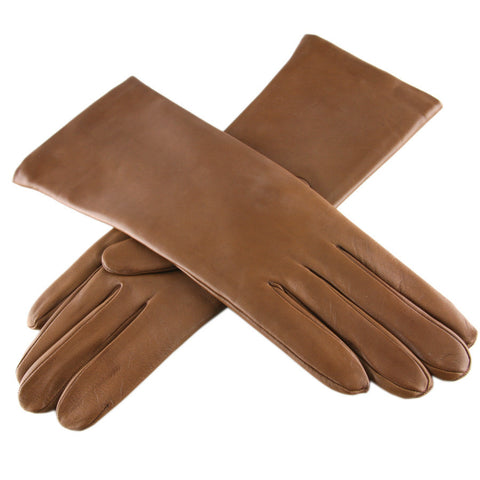 Tan Leather Gloves with Cashmere Lining