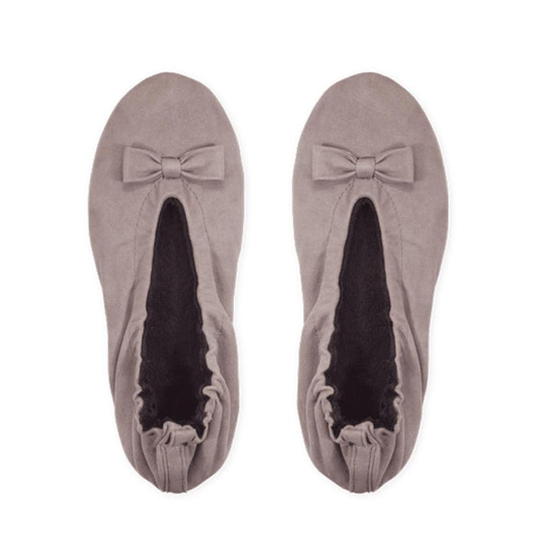 Taupe Suede Ballerina Slippers