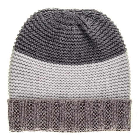 Triple Tone Chunky Knit Cashmere Slouch Beanie