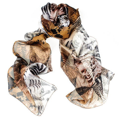 Bronze and Copper Tiger Print Silk Chiffon Scarf