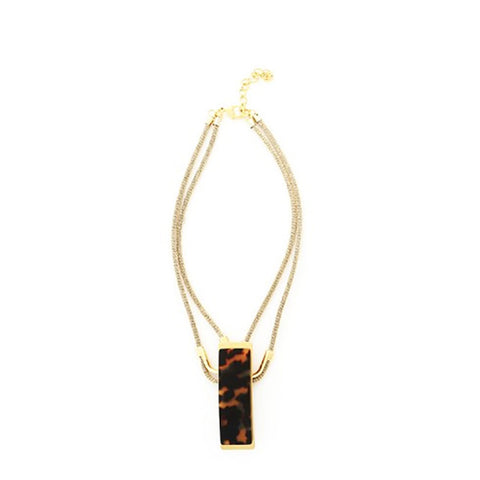 Tortoiseshell Resin Double Strand Pendant Necklace