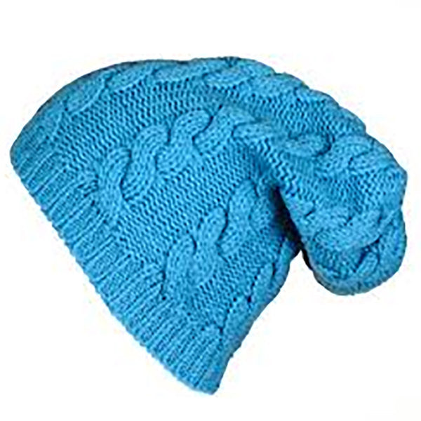 Turquoise Cable Knit Cashmere Slouch Beanie