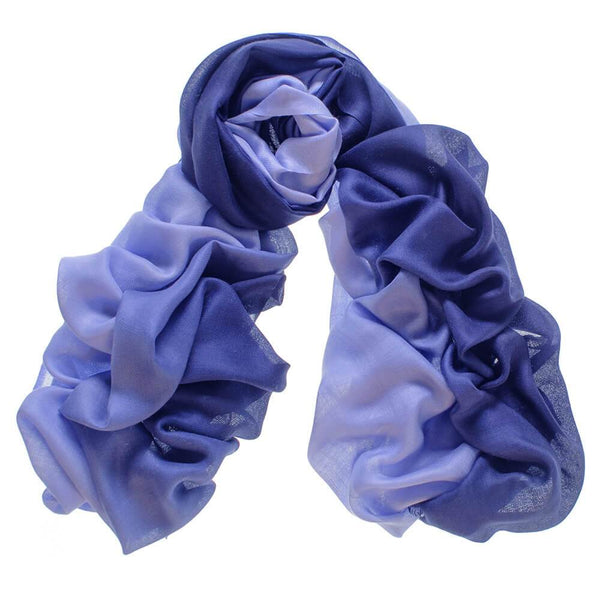 Navy to Denim Cashmere and Silk Scarf