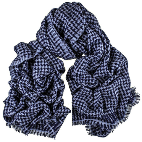 Two Tone Blue Houndstooth Cashmere Ring Shawl