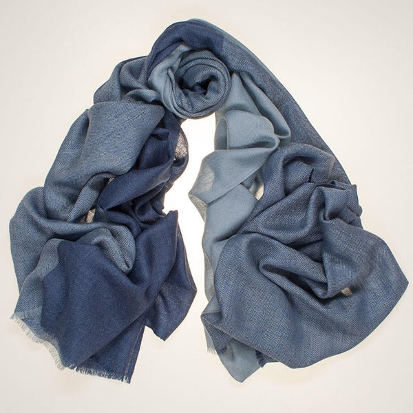 Rothbury Blue on Blue Silk and Wool Scarf