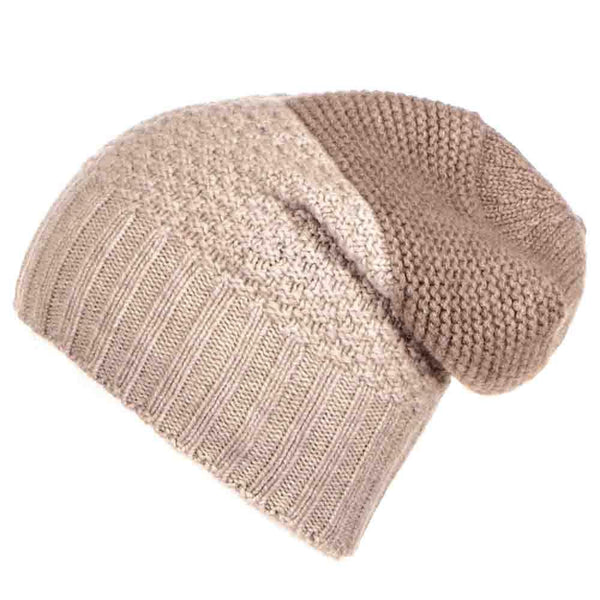 Light Brown and Biscuit Cashmere Slouchy Beanie