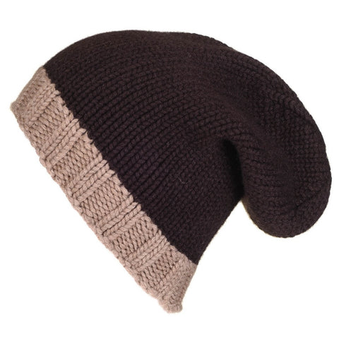 Two Tone Brown Cashmere Slouch Beanie