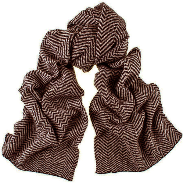 Chocolate and Caramel Herringbone Cashmere Scarf