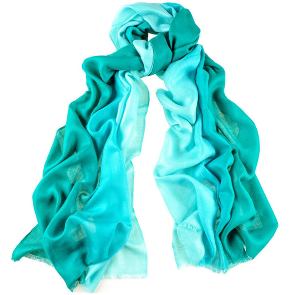 Turquoise to Aquamarine Cashmere and Silk Wrap