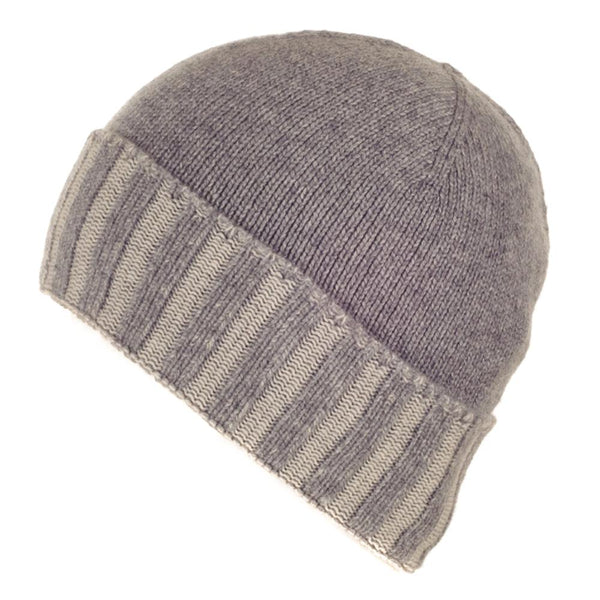 Two Tone Grey Cashmere Beanie Hat