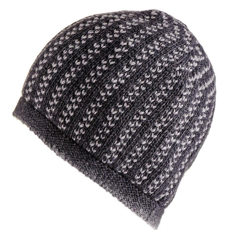 Charcoal and Light Grey Cashmere Beanie