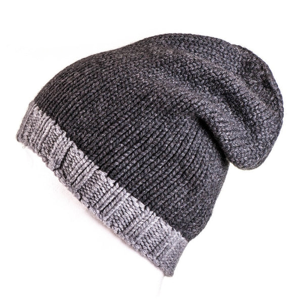 Two-Tone Grey Cashmere Slouch Beanie