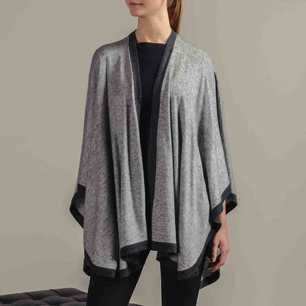 Two Tone Grey Wool Cape