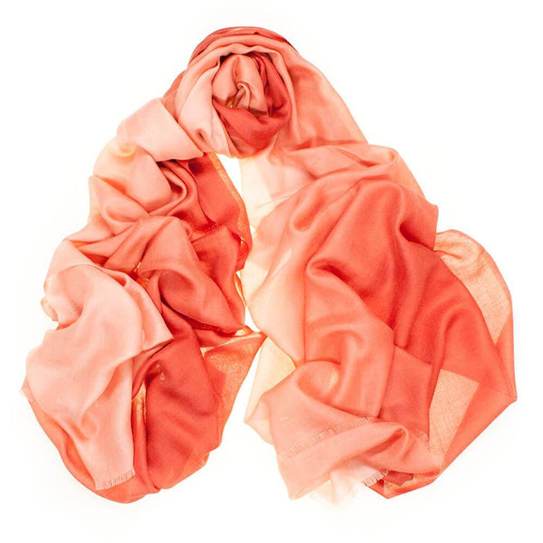 Terracotta to Coral Cashmere and Silk Wrap