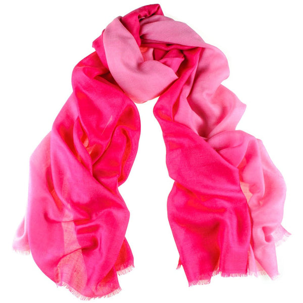 Fuchsia to Rose Cashmere and Silk Wrap