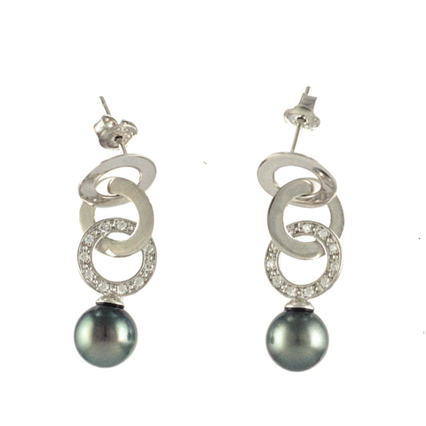 Valera Tahitian Black Pearl and Silver Earrings