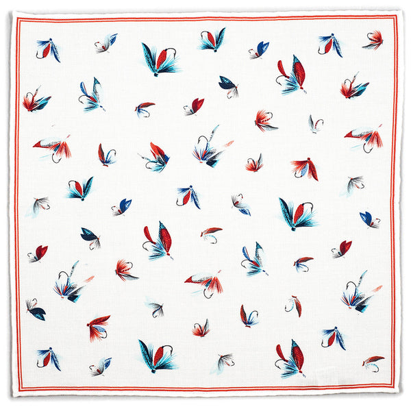 Cream Fishing Flies Printed Cotton Pocket Square