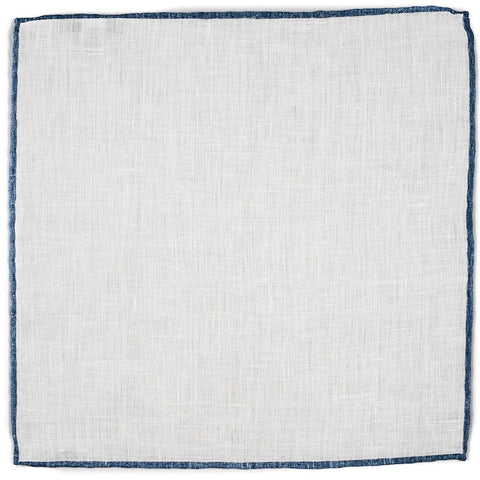 White and Blue Linen Pocket Square
