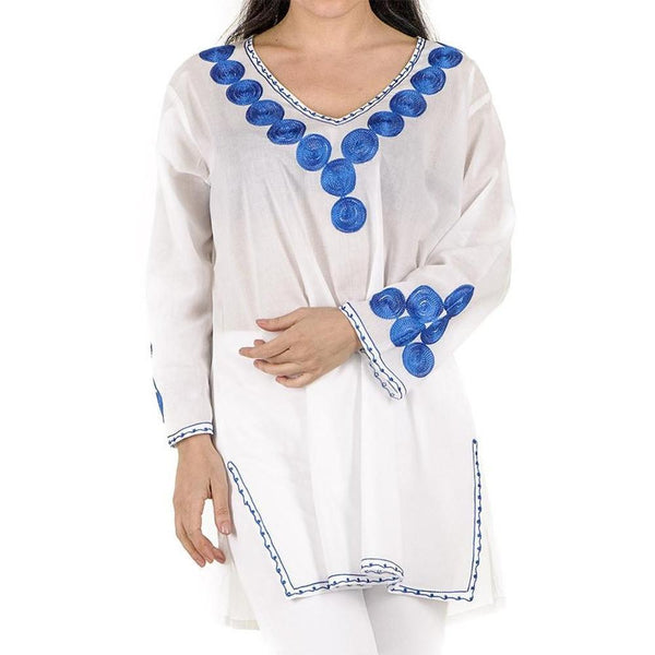 White and Electric Blue Embroidered Cotton Kaftan Top