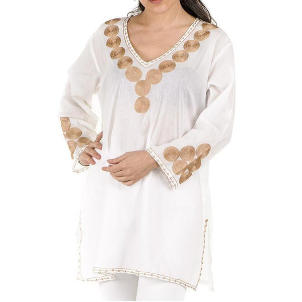 White and Gold Embroidered Cotton Kaftan Top