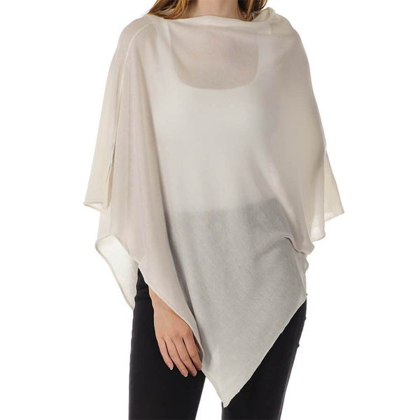 White Cashmere and Silk Poncho