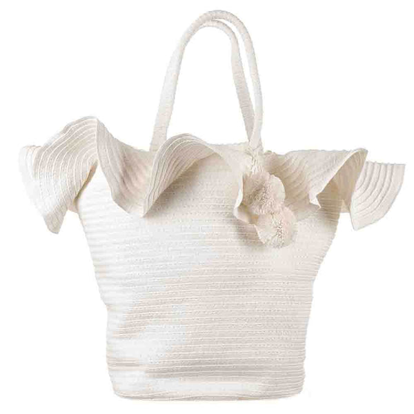 White Pom Pom Beach Bag